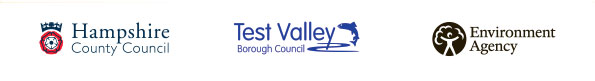 Hampshire County Council, Test Valley Borough Council, Environment Agency logos